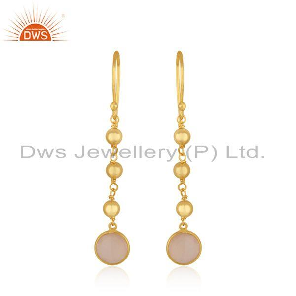 Manufacturer 18k Gold Plated Silver Rose Chalcedony Earrings Jewelry
