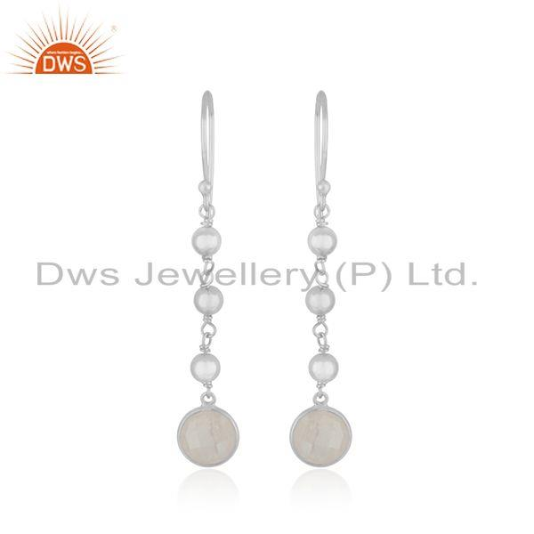 Fine Sterling Silver Rainbow Moonstone Dangle Earring Wholesaler India