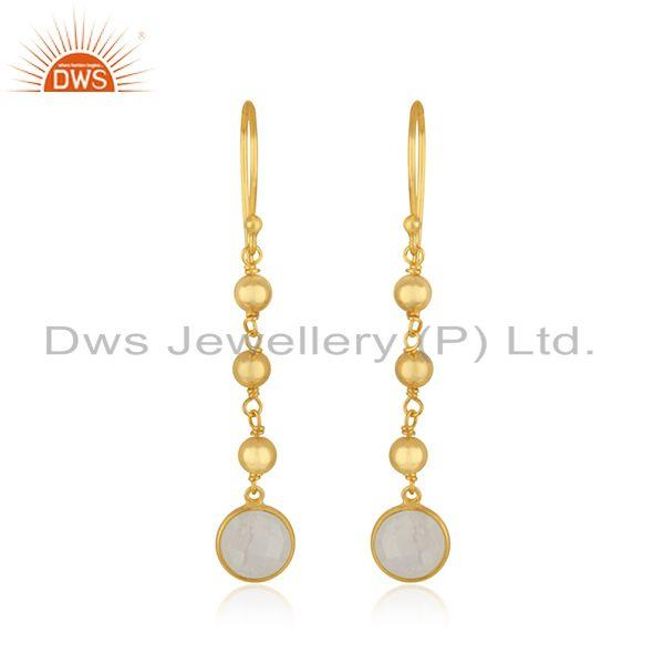 Raibow Moonstone Gold Plated 925 Silver Handmade Earring Manufacturer India