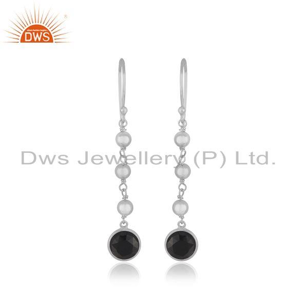 Black Onyx Gemstone Fine Sterling Silver Handmade Earring Manufacturer India