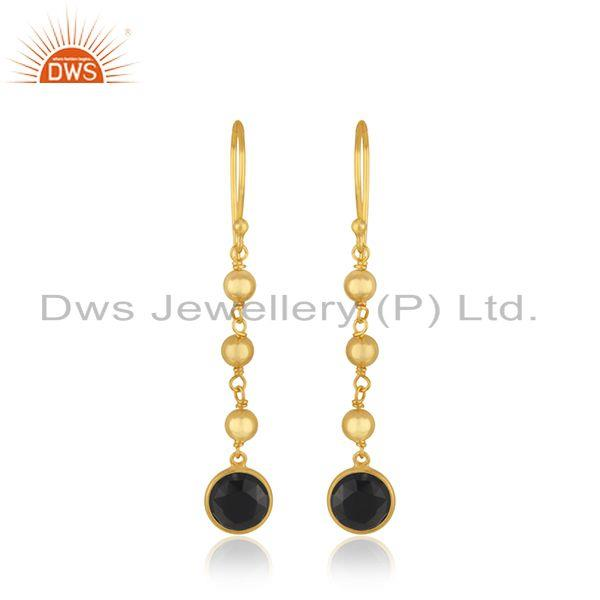 Yellow Gold Plated 925 Silver Black Onyx Gemstone Earring Wholesaler India
