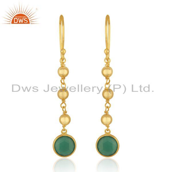 Designer Silver Gold Plated Silver Green Onyx Earrings Jewelry