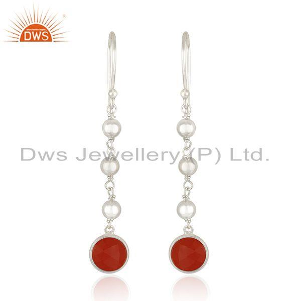 New Sterling Fine Silver Red Onyx Gemstone Dangle Earrings Jewelry