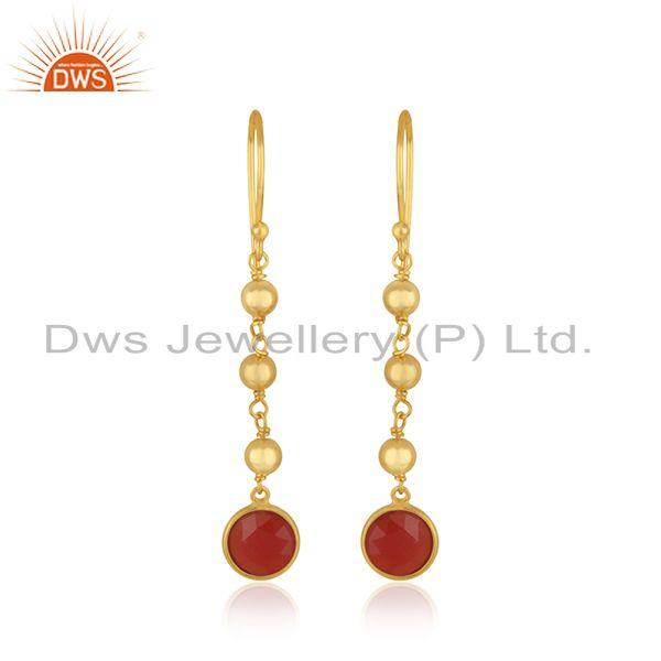 Red Onyx Gemstone Gold Plated 925 Silver Beaded Earring Manufacturer in Jaipur