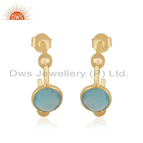 Handmade Designer Gold Plated Silver Aqua Chalcedony Earrings Jewelry