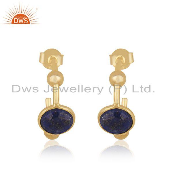Lapis Lazuli Gemstone 925 Sterling Silver Gold Plated Hoop Earring Supplier