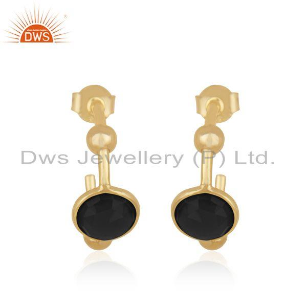 Black Onyx Designer Silver Gold Plated Earrings Jewelry