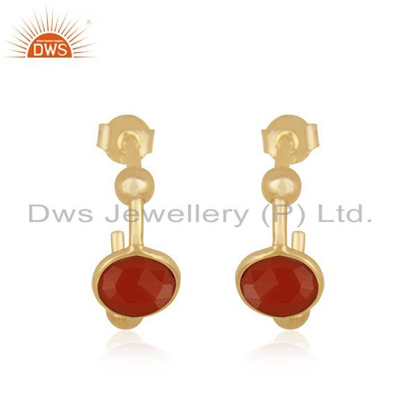 14k Gold Plated 925 Silver Red Onyx Gemstone Hoop Earring Suppliers Jaipur