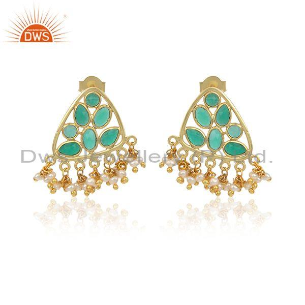 Traditional Style Pearl Earring in Gold on Silver with Green Onyx