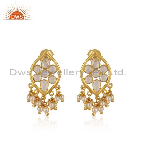 White Zircon and Pearl Gold Plated 925 Silver Traditional Earring Manufacturer