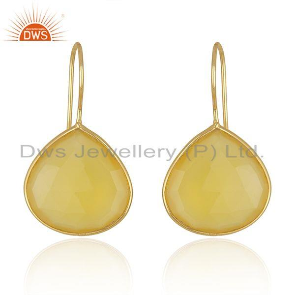 Yellow Chalcedony Gemstone Gold Plated 925 Silver Earrings Supplier