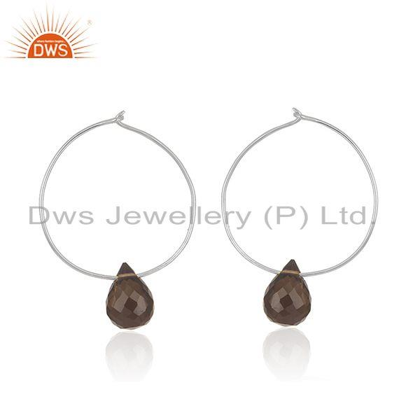 Smoky Quartz Gemstone Fine 925 Sterling Silver Hoop Earrings Supplier