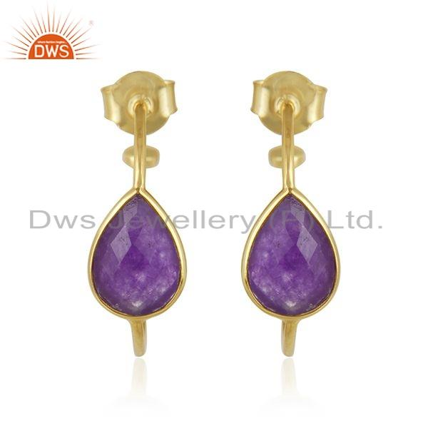 Purple Aventurine Gemstone Gold Plated 925 Silver Hoop Earring Jewelry