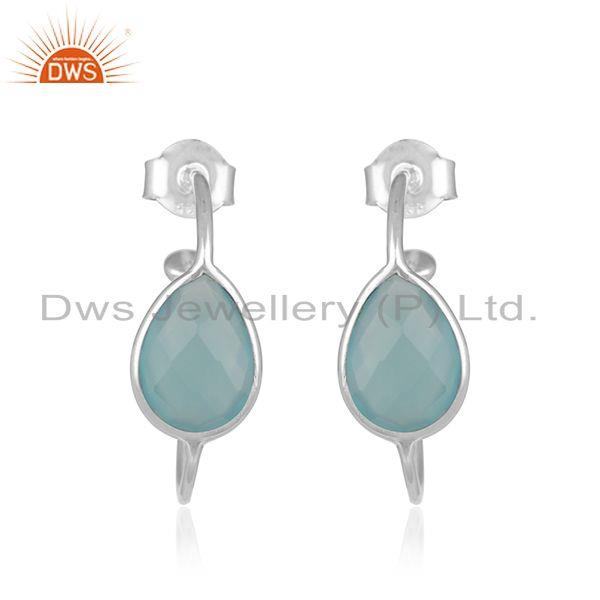 Aqua Chalcedony Gemstone Handmade Fine Sterling Silver Hoop Earrings