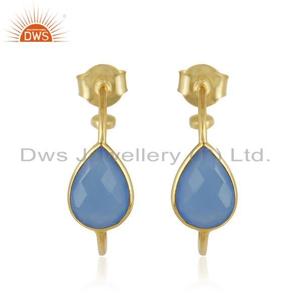 Gold Plated 925 Silver Blue Chalcedony Gemstone Hoop Earrings Jewelry