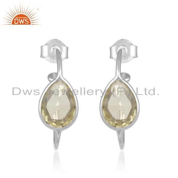 Natural Lemon Topaz Gemstone Designer 925 Fine Silver Hoop Earrings