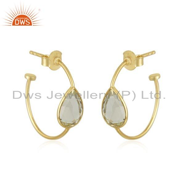 Gold Plated 925 Silver Girls Lemon Topaz Gemstone Hoop Earring Jewelry