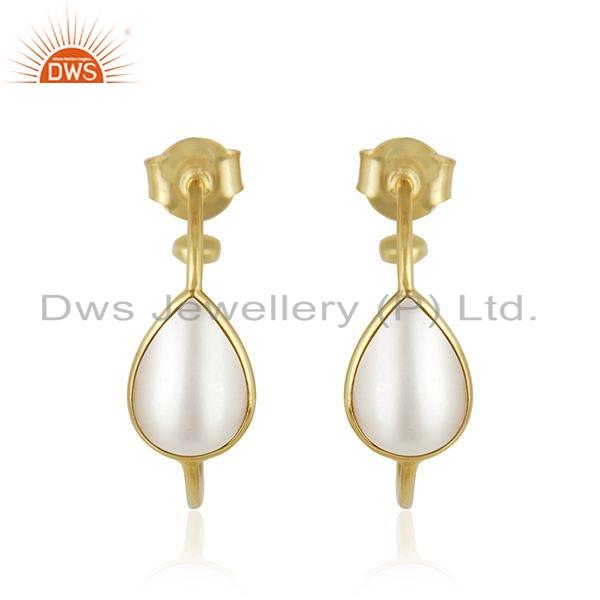 Pearl Gemstone Designer Gold Plated 925 Silver Hoop Earrings Jewelry