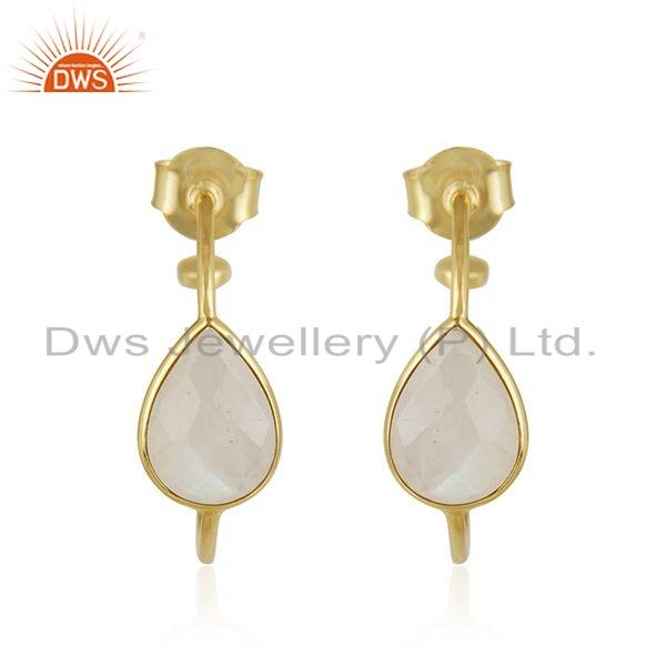 Rainbow Moonstone Gemstone Gold Plated 925 Silver Hoop Earring Jewelry