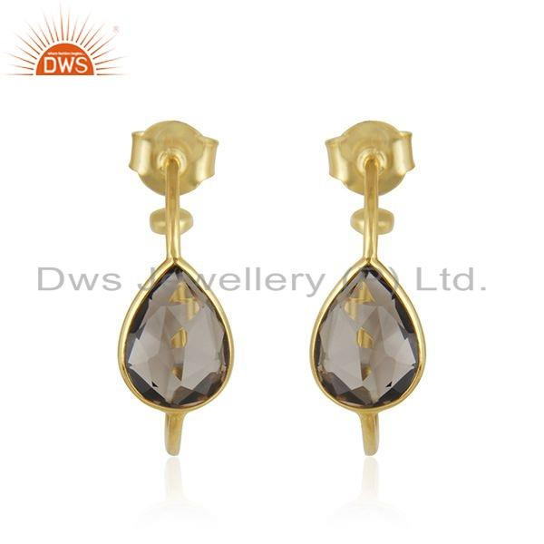 Smoky Quartz Gemstone 18k Gold Plated 925 Silver Hoop Earrings Jewelry