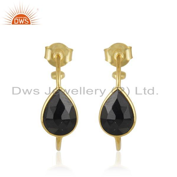 Black Onyx Gemstone Designer Silver Gold Plated Hoop Earrings Jewelry