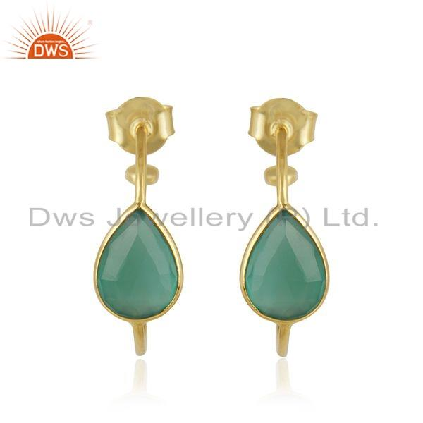 Gold Plated 925 Silver Natural Green Onyx Gemstone Hoop Earrings Jewelry