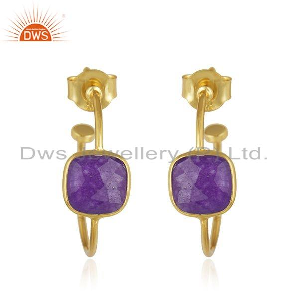 Gold Plated 925 Silver Purple Aventurine Gemstone Hoop Earring Jewelry