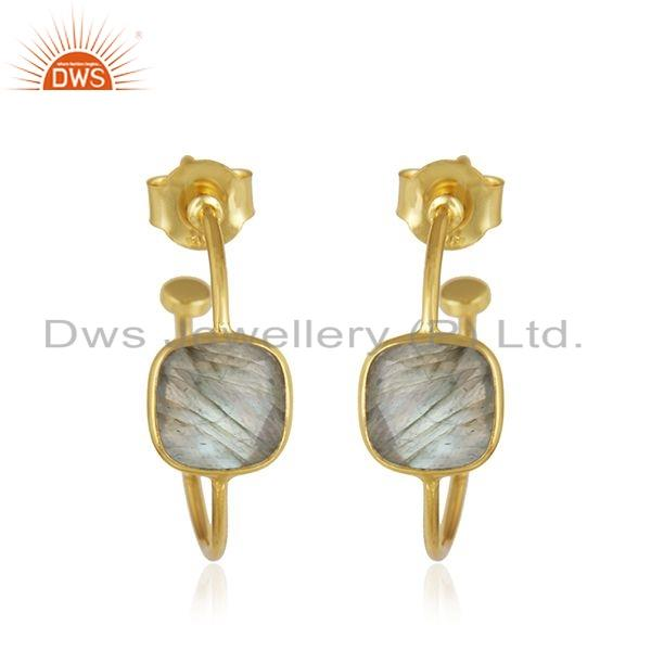 Natural Labradorite Gemstone Hoop Earrings Gold Plated Silver Jewelry