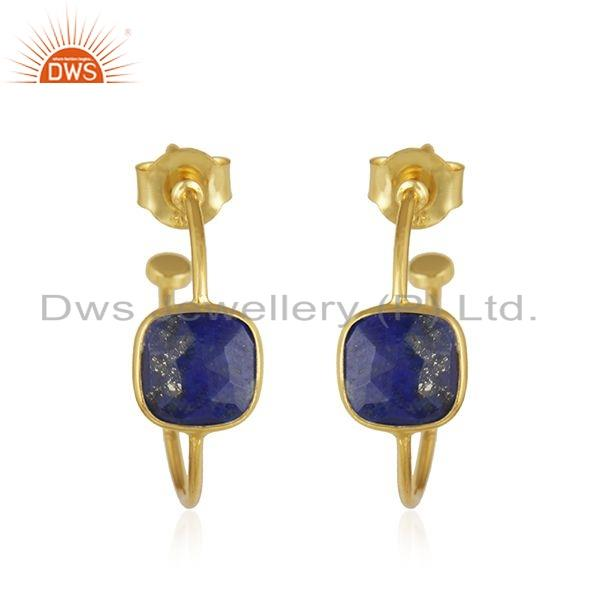 Gold Plated Silver Natural Lapis Lazuli Gemstone Hoop Earrings Jewelry