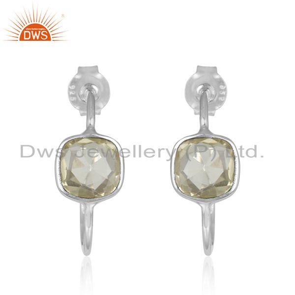 Natural Lemon Topaz Gemstone Handmade Fine Silver Hoop Earrings