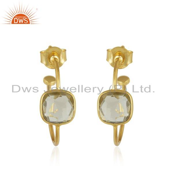 Natural Lemon Topaz Gemstone Gold Plated 925 Silver Hoop Earrings