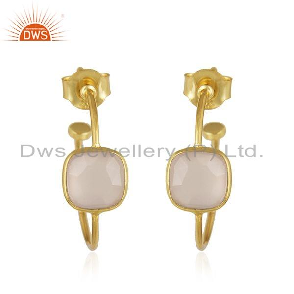 Rose Chalcedony Gemstone Gold Plated Designer Silver Earrings Jewelry