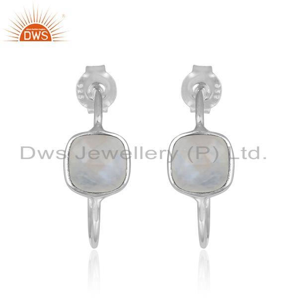Rainbow Moonstone Sterling Fine Silver Hoop Earrings Manufacturer