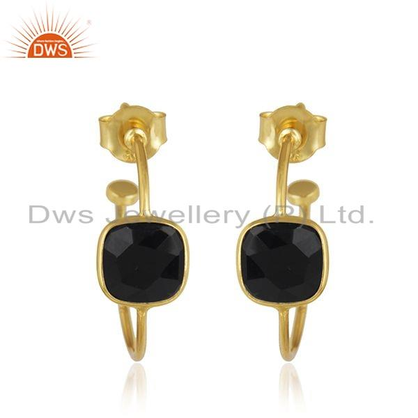 Black Onyx Gemstone Gold Plated Silver Designer Hoop Earrings Jewelry