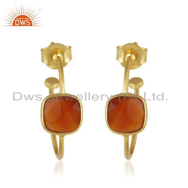 Gold Plated Designer 925 Silver Red Onyx Gemstone Hoop Earring Jewelry