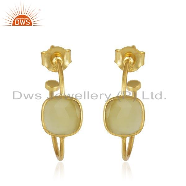 Yellow Chalcedony Gemstone Gold Plated 925 Silver Hoop Earring Jewelry
