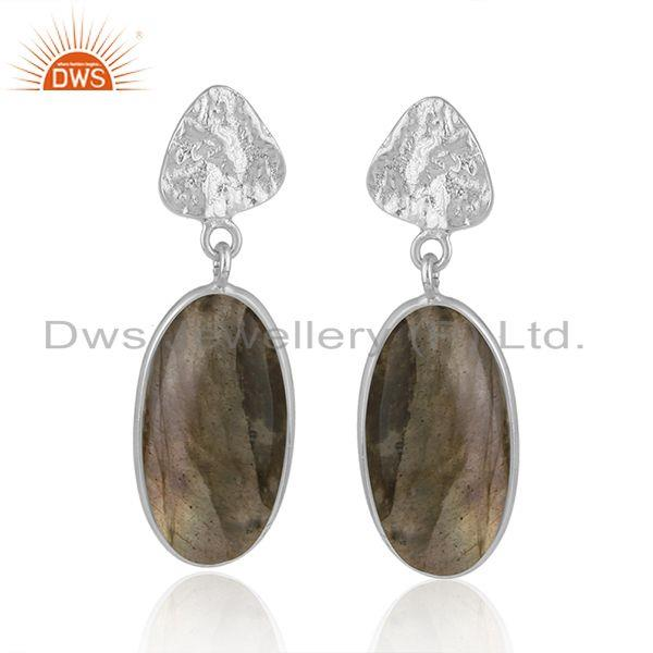Handmade Fine Sterling Silver Natural Labradorite Gemstone Earrings