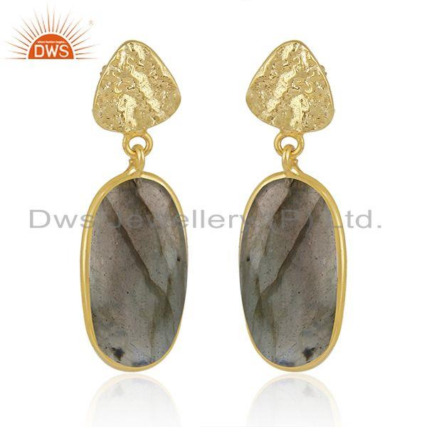 Labradorite Gemstone Gold Plated 925 Sterling Silver Handmade Earrings