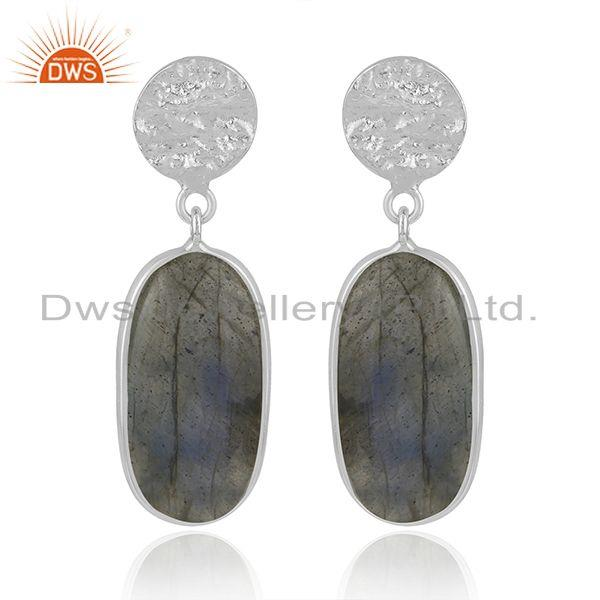Natural Labradorite Gemstone Fine Sterling Silver Handmade Earrings