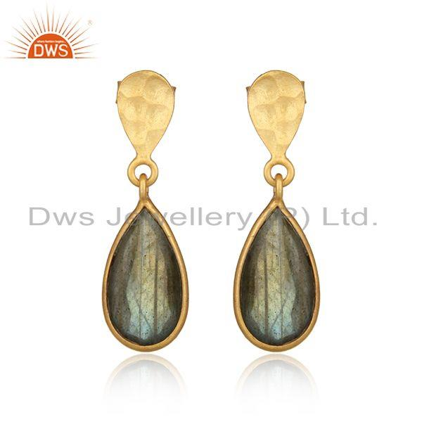 Handcrafted Textured Gold on Silver Dangle with Labradorite