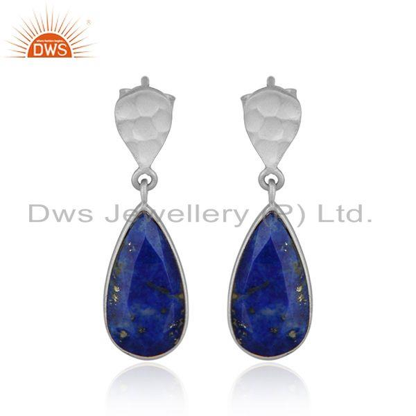 Designer Lapis Lazuli Gemstone Texture Sterling Silver Earrings