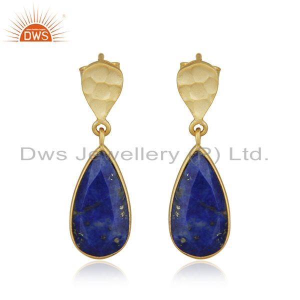 New Lapis Lazuli Gemstone Handmade Gold Plated Silver Earings Jewelry