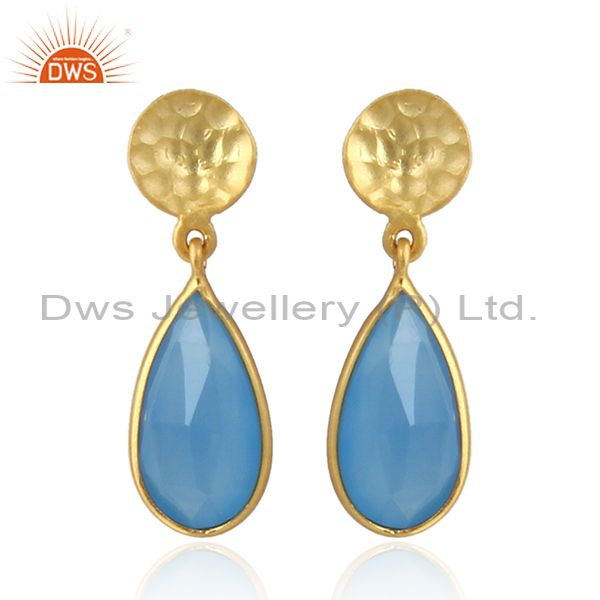 Gold Plated Designer Silver Blue Chalcedony Gemstone Dangle Earrings