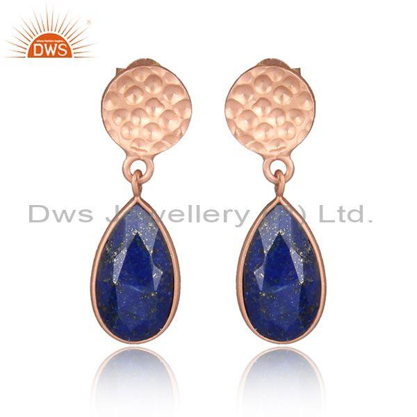 Tear drop lapis set rose gold on 925 silver classic earrings