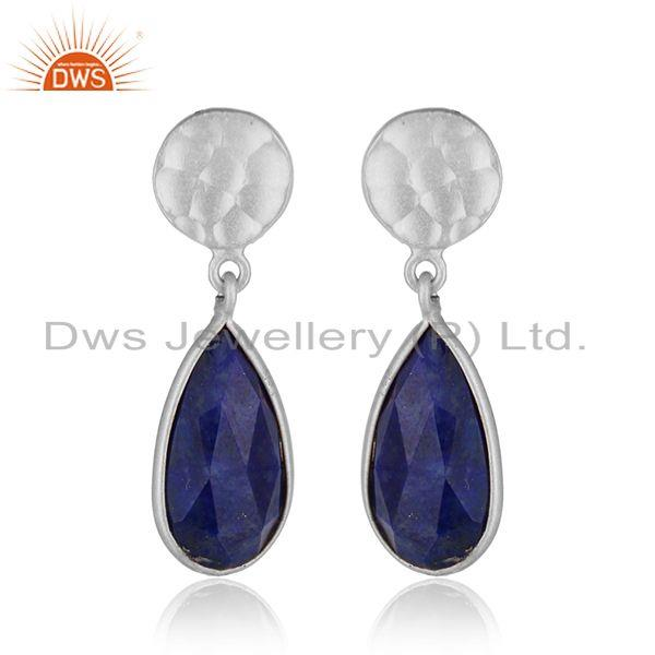 New Look 925 Sterling Fine Silver Lapis Lazuli Gemstone Earrings