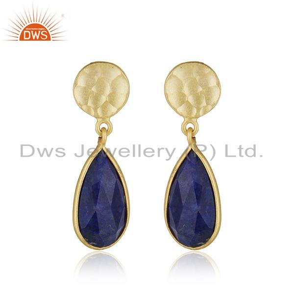 18k Gold Plated 925 Silver Lapis Lazuli Gemstone Earrings Jewelry