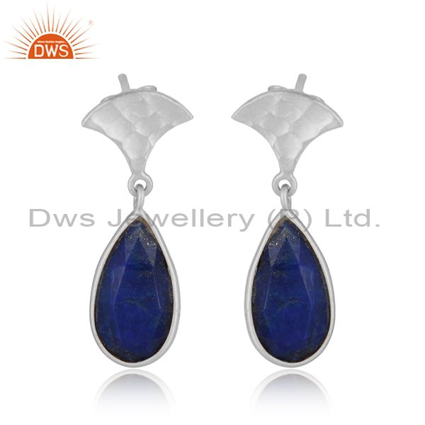 Handmade 925 Sterling Fine Silver Natural Lapis Lazuli Earrings