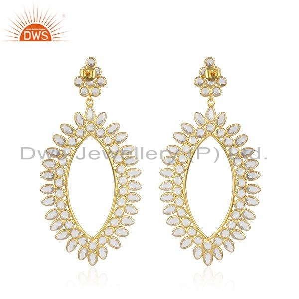 Traditional Design Gold Plated Silver Womens Zircon Earrings Jewelry