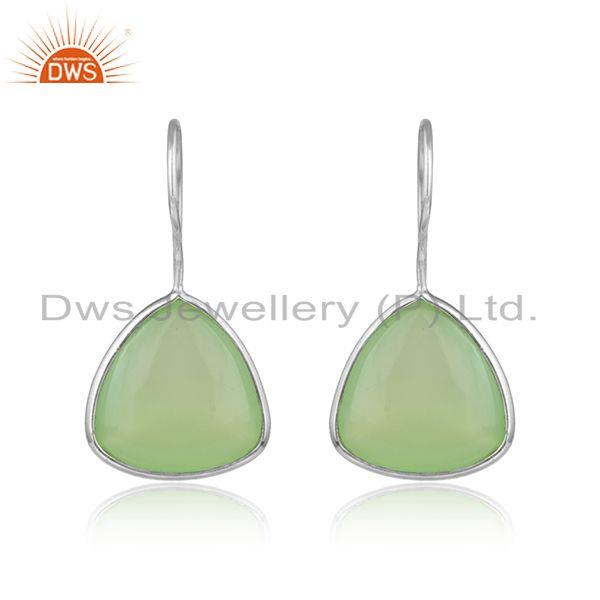 Prehnite Chalcedony Gemstone Fine Streling Silver Hook Earrings