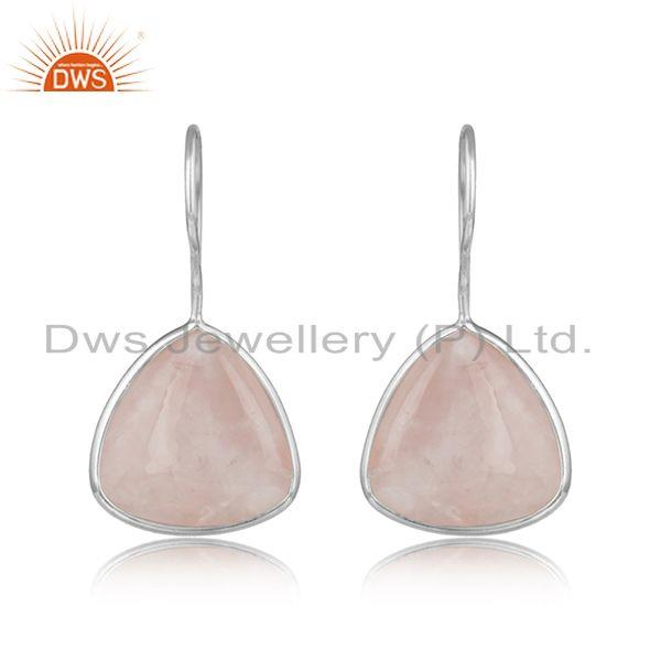 Rose Quartz Gemstone Designer 925 Sterling Fine Silver Earrings